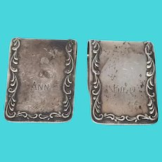 "S. Kirk & Son Sterling Silver #27 Napkin Holder Set of 2, Monogram ""ANN""/""BILL"""