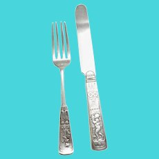 Gorham 1880 Piper Sterling Silver Youth Fork and Knife Set