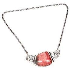 Southwest Style Sterling Silver Pink Rhodochrosite Pueblo Themed Necklace