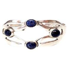 Taxco Mexico Sterling Silver Lapis Lazuli Cuff Bracelet