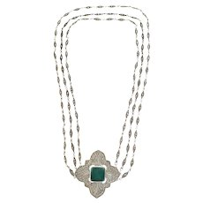 Vintage Sterling Silver Chrysoprase Marcasite Three Strand Necklace with Pin/Pendant