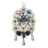Victorian Silver Turquoise Nesting Love Birds Locket Pin/Pendant