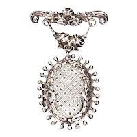 Antique Handmade Sterling Silver Hanging Locket Pin/Brooch