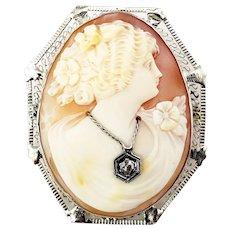 Vintage 14 Karat White Gold and Diamond Cameo Brooch/Pendant