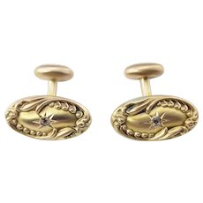 Vintage 14 Karat Yellow Gold and Diamond Cufflinks