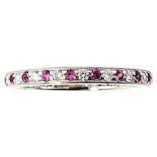 Vintage Tiffany & Co Platinum Diamond and Pink Sapphire Eternity Band Size 6.5