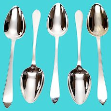 Set of 5 Tiffany & Co Antique Sterling Silver Faneuil Pattern Place Oval Spoons