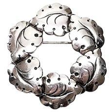 Vintage NE From Denmark Sterling Silver Leaf Wreath Pin/Brooch
