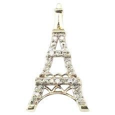 Vintage 10 Karat Yellow Gold and Diamond Eiffel Tower Charm