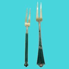 David Andersen Norway Sterling Silver Green Enamel 2 Tine Gold Washed Forks