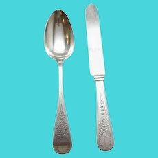 John Polhamus for Tiffany & Co. Sterling Silver Spoon and Knife, J*P