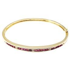 Vintage 14 Karat Yellow Gold Ruby and Diamond Bangle Bracelet