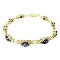 Vintage 18 Karat Yellow Gold Sapphire and Diamond Bracelet