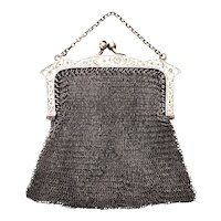 Antique E.A. Bliss Co Sterling Silver Mesh Coin Purse with Chain