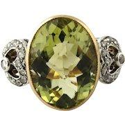 Antique Georgian 18K Rose Gold Platinum Citrine Diamond Ring Size 6.5