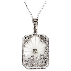 Vintage Art Deco Filigree Sterling Silver Camphor Glass Pendant with Chain