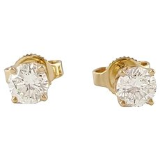 Vintage 14 Karat Yellow Gold Diamond Stud Earrings .60 ct.