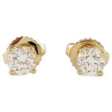Vintage 14 Karat Yellow Gold Diamond Stud Earrings .55 ct.