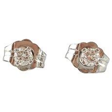 Vintage 14 Karat White Gold Diamond Stud Earrings .12 ct.