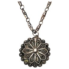 Vintage Silver Filigree Flower Pendant with Chain
