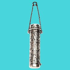 Vintage Sterling Silver Chatelaine Lipstick Case with Monogram