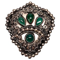 Vintage 800 Silver Chrysoprase Pin/Brooch