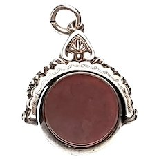 Antique Victorian Silver Bloodstone Watch Fob Pendant