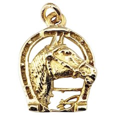 Vintage 14 Karat Yellow Gold Horse and Horseshoe Charm