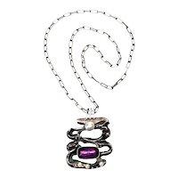 Vintage Scandinavian 835 Silver Pearl & Amethyst Modernist Pendant Necklace