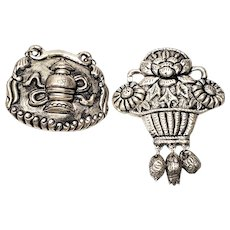 Set of 2 Antique Chinese Silver Amulets