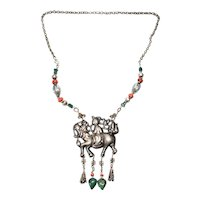 Antique Chinese Silver Qilin Amulet Beaded Necklace