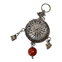 Antique Chinese Silver Chatelaine Filigree Cricket Cage Vinaigrette with Carnelian Bead