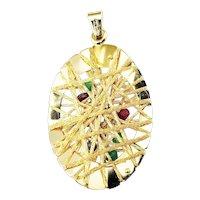 Vintage 18 Karat Yellow Gold, Ruby, Emerald and Sapphire Pendant