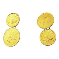 Vintage 14 Karat Yellow Gold Indian Head Coin Cufflinks