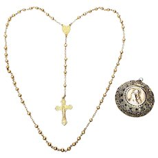 Vintage Gold Vermeil Over 800 Silver Rosary with Round Filigree Box Pendant