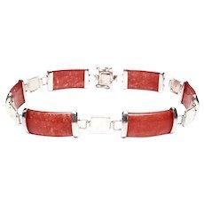 Sterling Silver Red Jade Link Bracelet