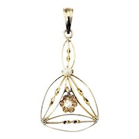 Antique 10 Karat Yellow Gold, Diamond and Pearl Pendant