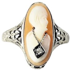 Vintage 10 Karat White Gold and Diamond Cameo Ring Size 3.75