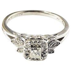 Vintage 14 Karat White Gold and Diamond Engagement Ring Size 5.5
