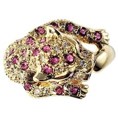 Vintage 14 Karat Yellow Gold Ruby and Diamond Leopard Ring Size 8