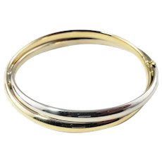 Vintage 14 Karat Yellow and White Gold Double Bangle Bracelet