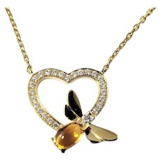 Vintage Chaumet Attrape-moi 18 Karat Yellow Gold Diamond and Citrine Heart and Bee Pendant Necklace