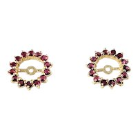 Vintage 14 Karat Yellow Gold and Ruby Earring Jackets