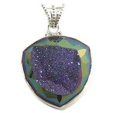 Colleen Lopez Sterling Silver Purple Druzy Quartz Pendant