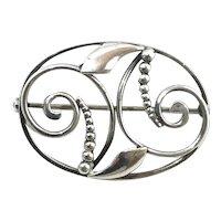 Hans Jensen Sterling Silver Denmark Brooch Pin