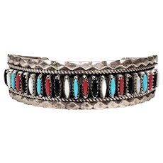 Eddie Secatero Native American Sterling Silver Multi Stone Needlepoint Cuff Bracelet