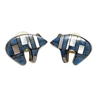 Signed Native American Sterling Silver Denim Lapis & Mother of Pearl Inlay Bear Earrings