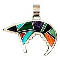 Calvin Begay Native American Sterling Silver Multi Stone Inlay Bear Pendant