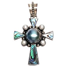 Merav Thailand Sterling Silver Mabe Pearl and Abalone Cross Pendant