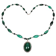 Native American Sterling Silver Malachite Beaded Pendant Necklace
